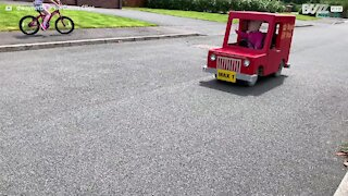 Dad converts mobility scooter into postman van