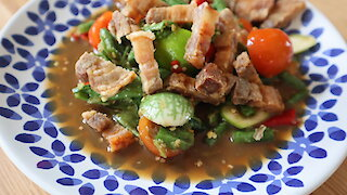 Spicy Thai longbean salad with fried pork belly (Som Tum Tua Moo Tod)