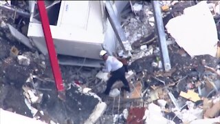 Fire rescue dogs searching through rubble after Surfside building collapse