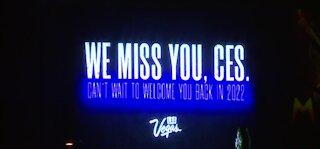 Las Vegas marquees show messages for CES