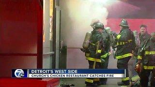 Church's Chicken restaurant catches fire on Detroit's west side