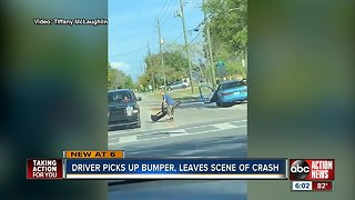 Caught on camera: hit-and-run driver retrieves bumper before getaway