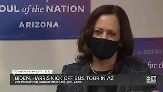 Biden, Harris kick off bus tour in Arizona