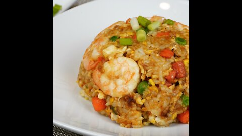 Chinese Egg Shrimp Fried Rice With Soy Sauce Flavor   10 Minutes Recipe