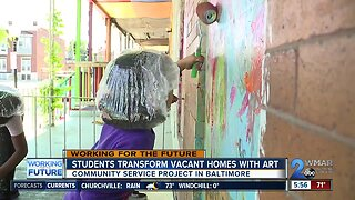 Baltimore elementary school students transform vacant rowhomes with art