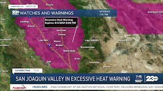 Excessive heat warning throughout the SJV
