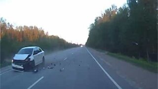 Moose hit by car in shocking collision on Russian road