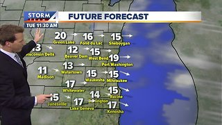 Chance of flurries Tuesday