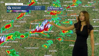 More storms to arrive between noon and 4 p.m. Monday