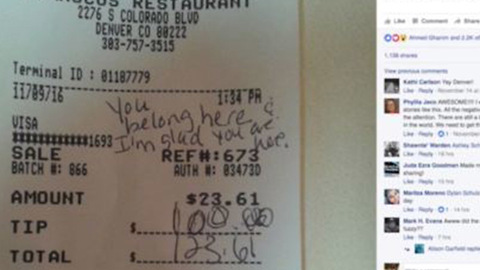 Immigrant waiter receives $100 tip at Denver restaurant