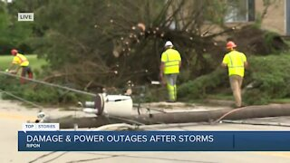 Crews cleaning up power lines in Ripon