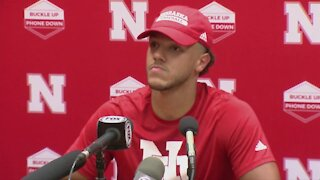 Nebraska quarterback Adrian Martinez speaks after loss at Oklahoma