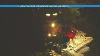 Semi-truck struck by train in Lake Worth Beach