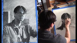 Realistic self portrait tutorial by talented artist