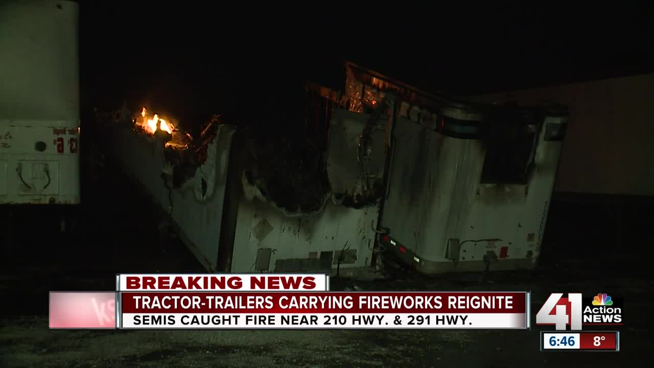 Trailer carrying fireworks catch fire