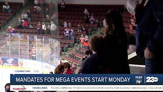 Mandates for indoor mega events start Monday