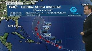 Tropical storm Josephine weakens