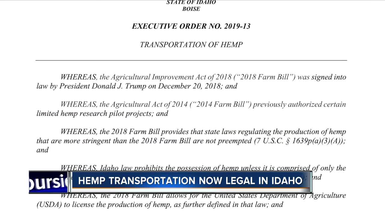 Governor issues executive order allowing transport of hemp through Idaho