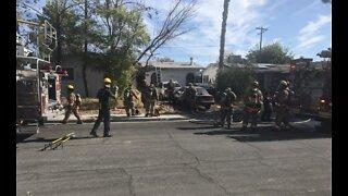 Las Vegas fire crews battle house fire near Jones, US-95