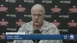 Andy Reid: 90% of Kansas City Chiefs players, 100% of Tier 1 staff vaccinated against COVID-19