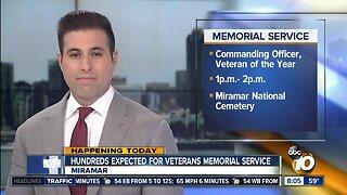 Hundreds expected for veterans memorial service