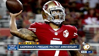 Kaepernick's pregame protest anniversary