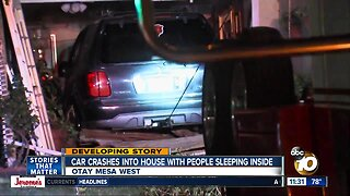 Car crashes into Otay Mesa house with people sleeping inside