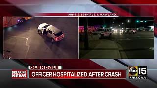 Glendale police officer injured in crash
