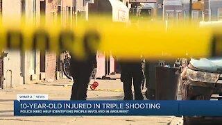 10-year-old injured in triple shooting