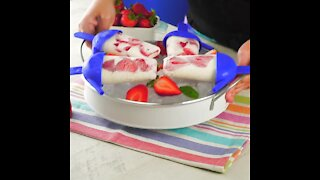 Strawberry Popsicles with Cream