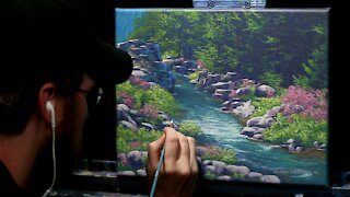 Acrylic Landscape Painting of a Spring Stream - Time Lapse - Artist Timothy Stanford