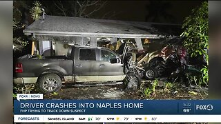 Search continues for driver who crashed into Naples home