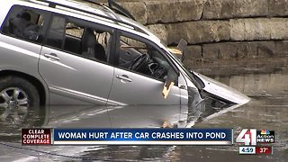 1 in critical condition after crash through fence, into pond
