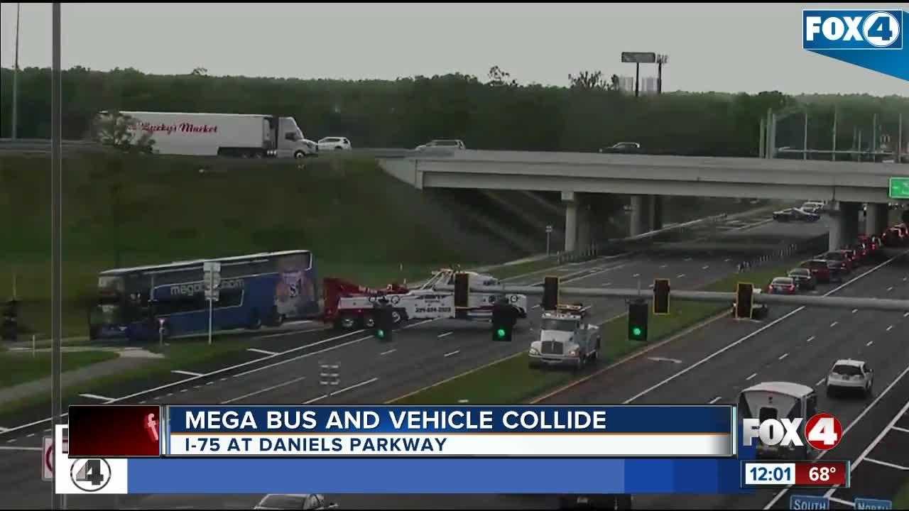 Megabus and vehicle collide