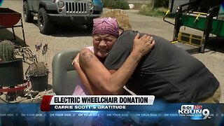 Tucson woman receives electric wheelchair donation after her's was stolen