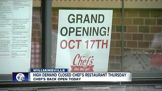 High demand closes Chef's On the go restaurant