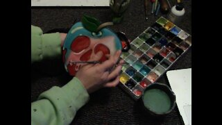 Painting a Snow White Apple Purse
