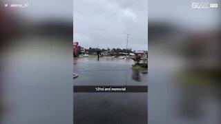 Oklahoma storms flood roads and halt traffic