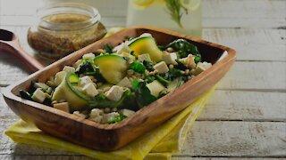 Warm Pumpkin Salad, Kale, Arugula, Feta Cheese and Dried Fruit