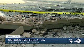 1 dead after car crashes, falls two levels outside Denver International Airport