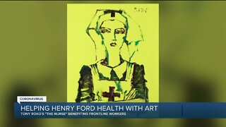 Tony Roko helping Henry Ford Health with art