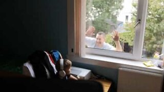 Father pranks son while he plays video game