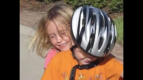 Big Sister Teaches Baby Brother to Ride a Bike without Training Wheels! Watch to the End
