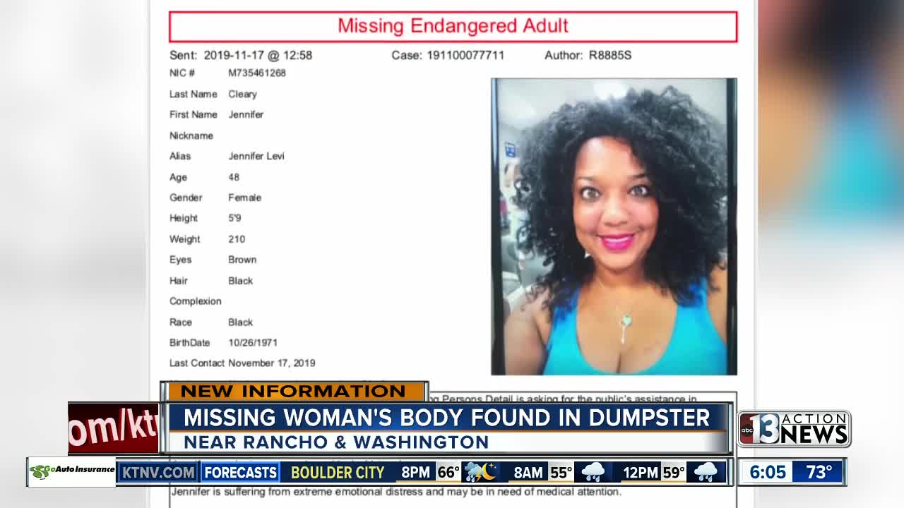 Missing woman found dead in a dumpster