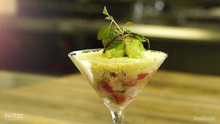Red Snapper Ceviche with Avocado Ice Cream