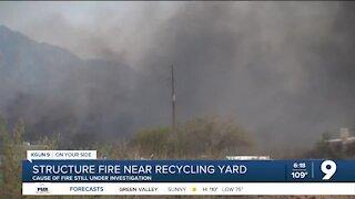 Rural Metro Fire crews battle recycling yard fire near Wilmot and Sahuarita roads