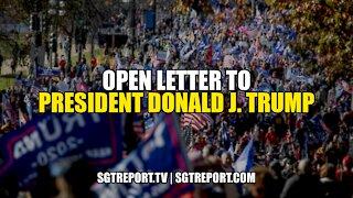 OPEN LETTER TO PRESIDENT DONALD J. TRUMP
