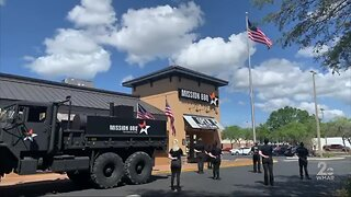 Customers observe National Anthem at Mission Barbecue