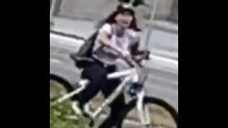 Girl falls off bike