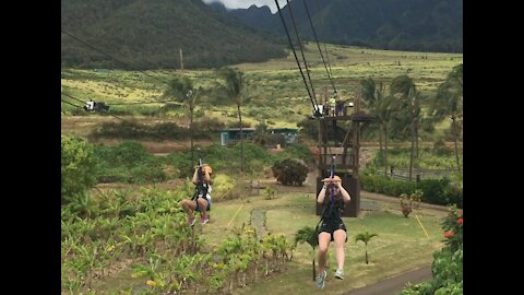 Zip lining in Hawaii